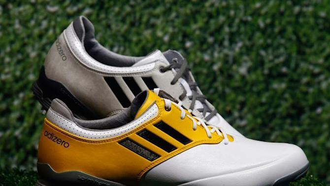 """Adidas golf shoes """"Adizero"""" are pictured during the company's annual news conference in Herzogenaurach"""