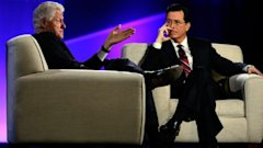 ap bill clinton stephen colbert jef 130409 wblog Bill Clinton (Sort of) Joins Twitter on Colbert Report