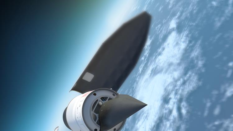 In this undated artist's rendition released by the Defense Advanced Research Projects Agency (DARPA) showing the Falcon Hypersonic Technology Vehicle 2 (HTV-2) separating from the rocket. The Falcon HTV-2 is an unmanned, rocket-launched, maneuverable aircraft that glides through the Earth's atmosphere at incredibly fast speeds, Mach 20 (approximately 13,000 miles per hour). The hypersonic glider is scheduled for launch atop a Minotaur rocket on Wednesday Aug.10,2011 from Vandenberg Air Force Base, Calif.  The Hypersonic Test Vehicle-2 is an experiment in extremely high speed flight technologies by the U.S. Defense Advanced Research Projects Agency. (AP Photo/DARPA)