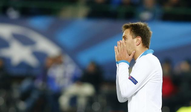 Zenit St Petersburg's Criscito reacts during their Champions League soccer match in Vienna