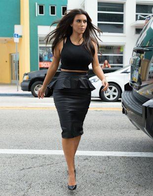 Kim Kardashian's Day To Night Leather Peplum Skirt & Crop Top - Get The Look