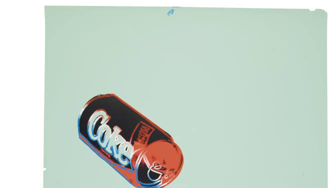 "CAPTION ADDITION, ADDS COPYRIGHT INFO - This undated photo provided by Christies's auction house in New York and The Andy Warhol Foundation for the Visual Arts, Inc.  shows Andy Warhol's ""New Coke III B.44,"" screenprint in colors, on colored graphic art paper, with a pre-auction estimate of $25,000-35,000. It is one of about 125 artworks being offered from Feb. 26 through March 5 in Christie's first online-only Warhol sale. The works can be previewed online prior to the sale. Bidders can browse, bid and receive instant updates by email or phone if another bid exceeds theirs. (AP Photo/Copyright The Andy Warhol Foundation for the Visual Arts, Inc.)"