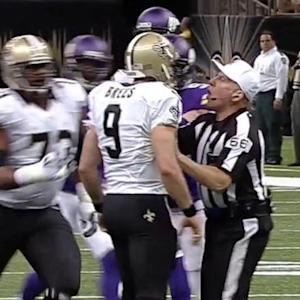 New Orleans Saints quarterback Drew Brees gets heated after sack