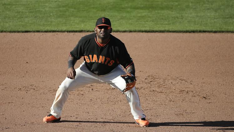 San Francisco Giants third baseman Pablo Sandoval plays during a spring exhibition baseball game against the Oakland Athletics in Scottsdale, Ariz., Sunday, March 16, 2014. (AP Photo/Chris Carlson)