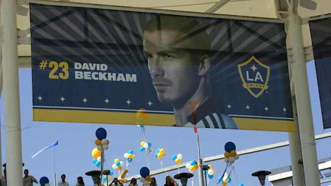 CARSON, CA - JULY 13: The stadium is decorated with a Beckham banner during the official introduction of David Beckham as a Los Angeles Galaxy player on July 13, 2007 at the Home Depot Center in Carson, California. (Photo by Stephen Dunn/Getty Images)
