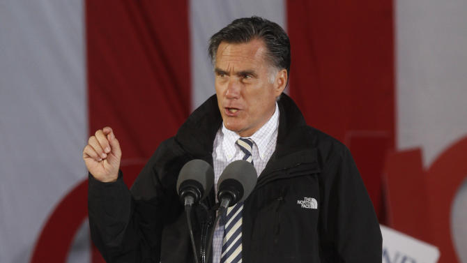 Republican presidential candidate, former Massachusetts Gov. Mitt Romney speaks during a campaign rally in Lancaster, Ohio,  Friday, Oct. 12, 2012. (AP Photo/Paul Vernon)