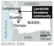 Map locates Ledgewood Wash., where a landslide occurred