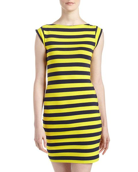 French Connection striped shift dress in nocturnal/trouble yellow, $59 at lastcall.com