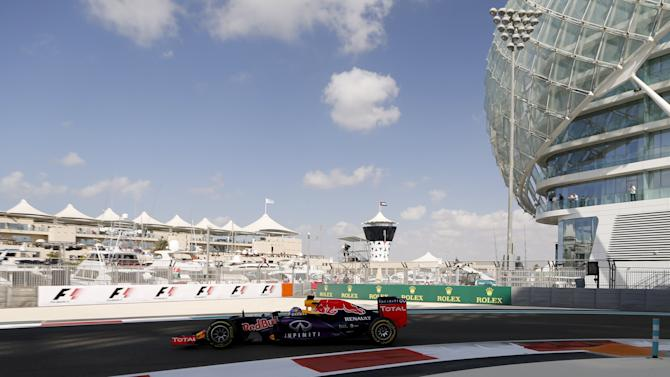 Red Bull Formula One driver Daniel Ricciardo of Australia drives during the first free practice session of the Abu Dhabi F1 Grand Prix