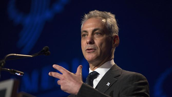 Chicago Mayor Rahm Emanuel addresses the Clinton Global Initiative (CGI) meeting in Chicago, Thursday, June 13, 2013. During this opening session, politicians and business leaders to discussed new ways to achieve economic and social mobility. (AP Photo/Scott Eisen)