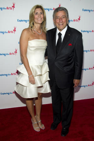 Tony Bennett and his wife Susan Crow attend Tony's 85th birthday gala in New York, Sunday, Sept. 18, 2011. (AP Photo/Charles Sykes)