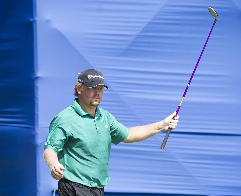 William McGirt reacts after making a birdie on the ninth hole during final round play at the 2012 Canadian Open at the Hamilton Golf and County Club in Hamilton, Ontario, on Sunday, July 29, 2012. (AP Photo/The Canadian Press, Nathan Denette)