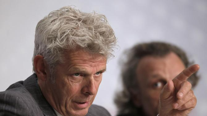 Director Alex van Warmerdam, left, speaks during a press conference for Borgman at the 66th international film festival, in Cannes, southern France, Sunday, May 19, 2013. (AP Photo/Francois Mori)
