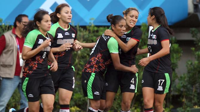 Mexico's Jennifer Ruiz, second from right, celebrates with teammates after scoring during a women's soccer bronze medal match against Colombia at the Pan American Games in Guadalajara, Mexico, Thursday, Oct. 27, 2011. Mexico won 1-0. (AP Photo/Juan Karita)