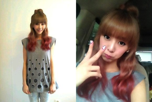 G.Na shows ribbon hair style