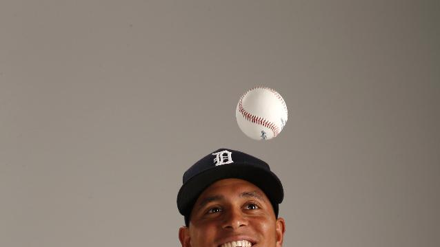 This is a 2015 photo of Arvicent Perez of the Detroit Tigers baseball team. This image reflects the Tigers active roster as of Feb. 28, 2015 when this image was taken at spring training in Lakeland, Fla. (AP Photo/Gene J. Puskar)