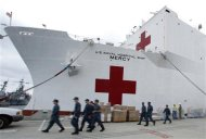 San Diego-based hospital ship USNS Mercy prepares for possible deployment to aid the typhoon-stricken areas of the Philippines from its port in San Diego, California November 15, 2013. REUTERS/Mike Blake