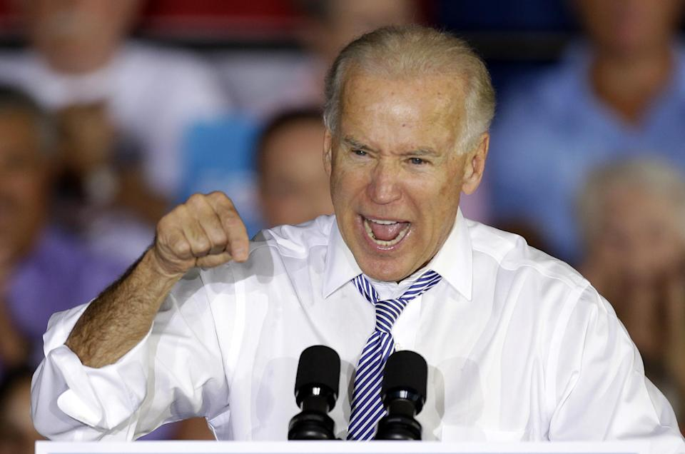 Vice president Joe Biden gestures during a campaign speech to a group of senior citizen voters, Friday, Oct. 19, 2012 , in Sun City Center, Fla. (AP Photo/Chris O'Meara)