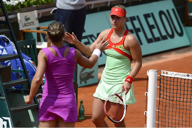 Italy's Sara Errani (L) Shakes AFP/Getty Images
