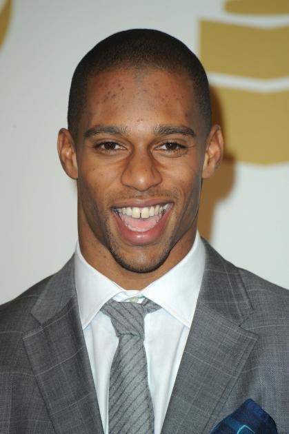 Victor Cruz of The New York Giants poses in the media center at the 54th Annual Grammy Awards at Staples Center in Los Angeles on February 12, 2012 -- WireImage