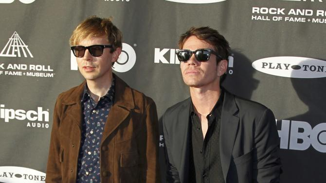 Musicians Beck and Ruess arrive for the 2015 Rock and Roll Hall of Fame Induction Ceremony in Cleveland