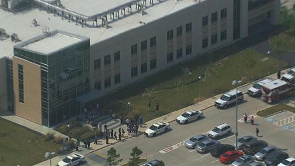 This frame grab provided by KTRK shows the scene above the Cy-Fair campus of Lone Star Community College in Cypress, Texas, where officials say about a dozen people have been wounded in a stabbing attack Tuesday, April 9, 2013. The Harris County Sheriff's department confirmed at least 11 people wounded and that authorities have one suspect in custody. (AP Photo/KTRK)