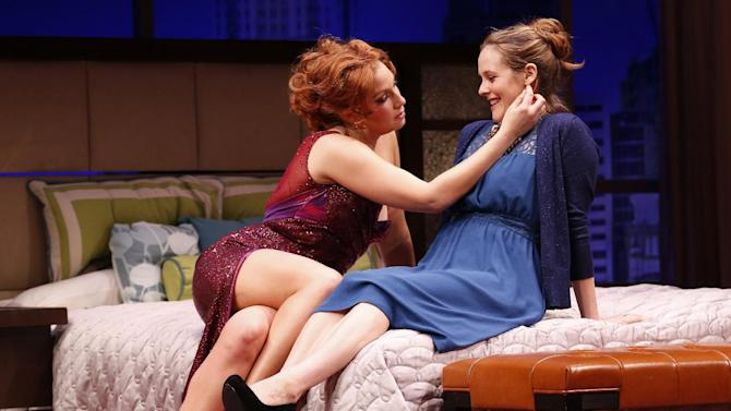 """This theater image released by Sam Rudy Media Relations shows Ari Graynor, left, and Alicia Silverstone during a performance of """"The Performers,"""" in New York. (AP Photo/Sam Rudy Media Relations, Carol Rosegg)"""