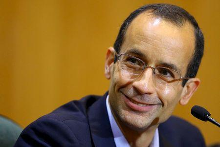 Odebrecht, the head of Latin America's largest engineering and construction company Odebrecht SA, smiles as he gives his testimony in a session of the Parliamentary Committee of Inquiry in Curitiba