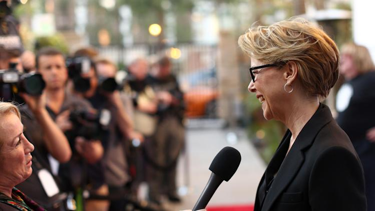 Annette Bening  arrives at the Backstage at the Geffen gala at the Geffen Playhouse on Monday, May 13, 2013, in Los Angeles. (Photo by Matt Sayles/Invision for Geffen/AP Images)