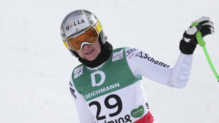 Austria's Nicole Hosp reacts during the women's downhill training at the Alpine skiing world championships in Schladming, Austria, Thursday, Feb.7,2013. (AP Photo/Matthias Schrader)