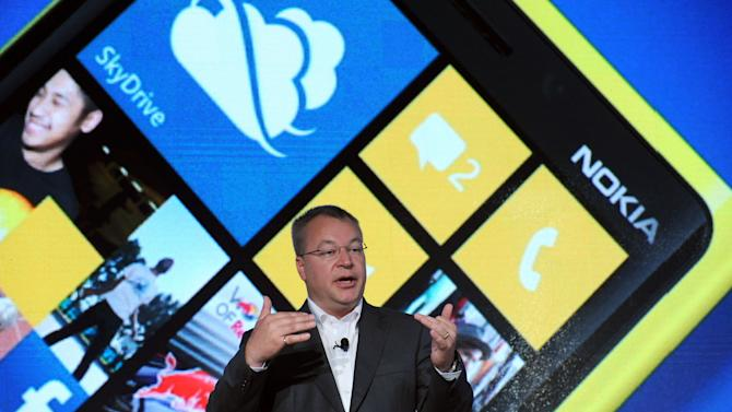 IMAGE DISTRIBUTED FOR NOKIA - Nokia President and CEO Stephen Elop debuts the Nokia Lumia 920, Nokia's flagship Windows Phone 8 smartphone, at a press event in New York, Wednesday, Sept. 5, 2012. The Lumia 920 features a camera able to take in five times more light than competing smartphones for sharp pictures in low light without flash, and the phone comes with integrated wireless charging and a suite of location-based apps for personalized mapping and navigation. (Photo by Diane Bondareff/Invision for Nokia/AP Images)