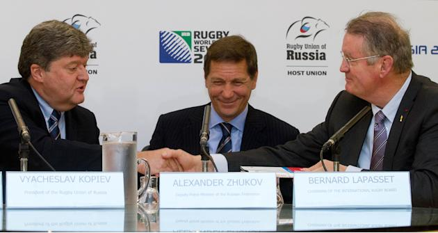 (From left) Vyacheslav Kopiev President of the Rugby Union Russia shakes hands with Bernard Lappasset, Chairman of the IRB, and Alexander Zhukov, Deputy President of Russia, during a Rugby Sevens anno