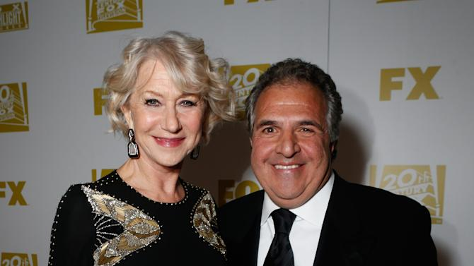 Actress Helen Mirren, left, and Co-Chairman and CEO, Fox Flmed Entertainment Jim Gianopolous attend the Fox Golden Globes Party on Sunday, January 13, 2013, in Beverly Hills, Calif. (Photo by Todd Williamson/Invision for Fox Searchlight/AP Images)