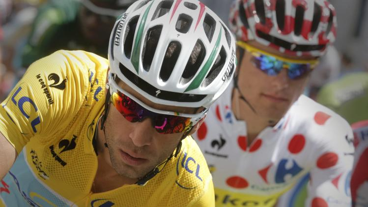 Race leader Astana team rider Nibali and best climber Tinkoff-Saxo rider Majka compete in the 16th stage of the Tour de France cycle race