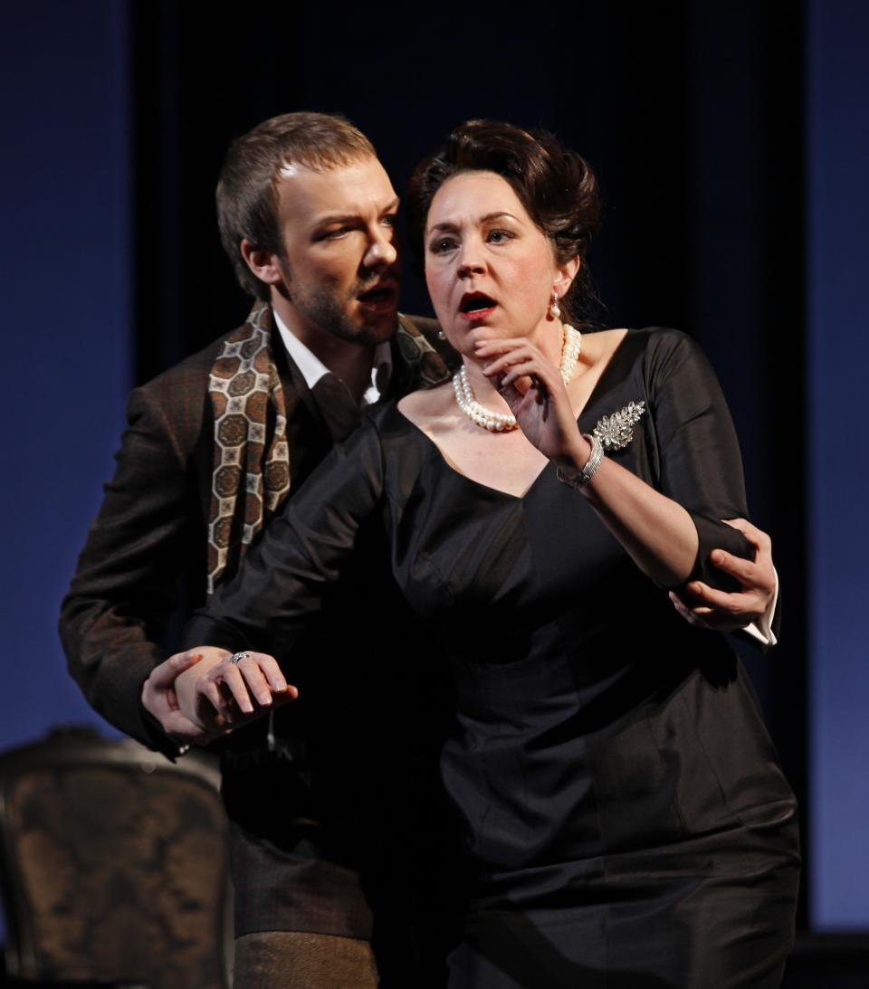 "In this Feb. 17, 2012 photo provided by the City Opera, Melody Moore performs as Regine with Taylor Staytonas Andre, during a dress rehearsal of Rufus Wainwright's ""Prima Donna"" at the Brooklyn Academy of Music, in Brooklyn, New York. (AP Photo/City Opera, Carol Rosegg)"