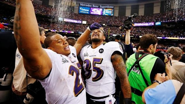 Baltimore Ravens running back Anthony Allen and Ray Rice celebrate (Reuters)