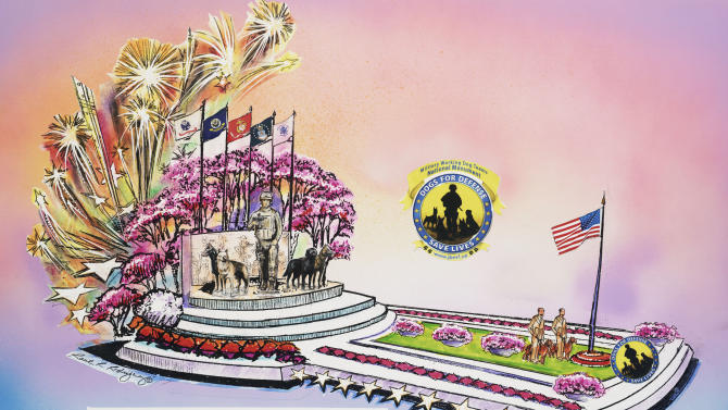 "In this undated publicity photo provided by Natural Balance, a rendering of a float called ""Canines with Courage,"" the Natural Balance entry for the Tournament of Roses parade in Pasadena on Jan. 1, 2013 is shown. War handler veteran, John Burnam, and dogs and handlers from every branch of the service will ride the float. (AP Photo/Natural Balance)"