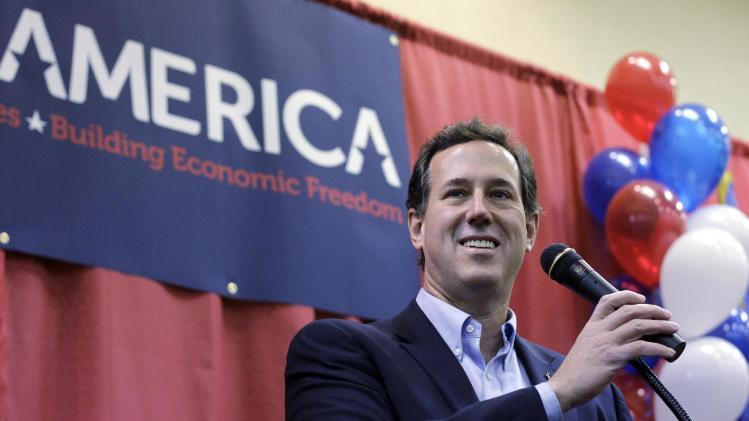 Republican presidential candidate, former Pennsylvania Sen. Rick Santorum speaks during a rally, Thursday, Feb. 9, 2012, in Oklahoma City. (AP Photo/Eric Gay)