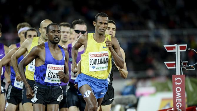 Souleiman of Djibouti competes to win the men's 1500m event at the IAAF Athletics Diamond League meeting in the Stockholm Olympic Stadium