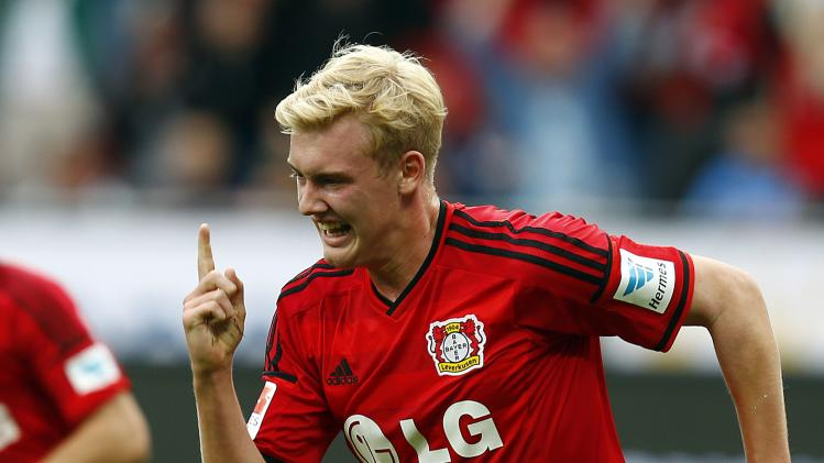 Bayer Leverkusen's Brandt celebrates his goal against Hertha BSC Berlin during the German first division Bundesliga soccer match in Leverkusen