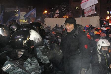UDAR party leader Vitaly Klitschko takes part in a pro-European integration protest in Independence Square in Kiev