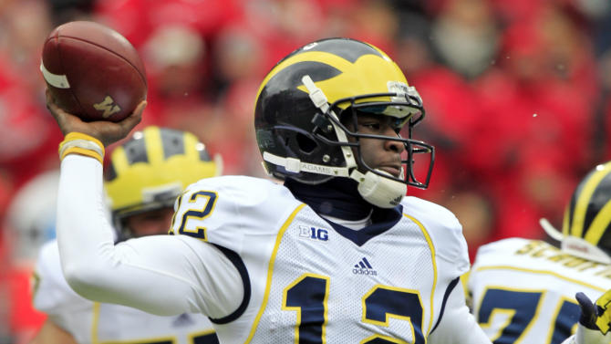 Michigan quarterback Devin Gardner passes against Ohio State in the first quarter of an NCAA college football game Saturday, Nov. 24, 2012, in Columbus, Ohio. (AP Photo/Jay LaPrete)