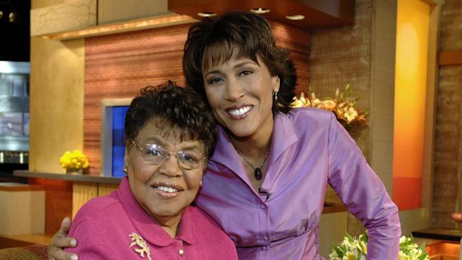 """This 2006 photo released by ABC shows """"Good Morning America"""" co-host Robin Roberts, right, with her mother Lucimarian Roberts on the set in New York. Jeffrey W. Schneider, senior vice president of ABC News, said 88-year-old Lucimarian Roberts died Thursday, Aug. 30, 2012. ABC's Facebook page said Robins traveled """"home to Mississippi just in time to see her."""" The death came on the same day Roberts said goodbye to her co-workers and audience before starting medical leave for a bone marrow transplant. Her departure had been set for Friday. But in a last-minute change of plans she told her viewers she was leaving a day early to visit her ailing mother.  WABC-TV said Lucimarian Roberts was the first African-American to head Mississippi's board of education. She also collaborated with her daughter on a book titled, """"My Story, My Song: Mother-Daughter Reflections on Life and Faith."""" (AP Photo/ABC, Donna Svennevik)"""