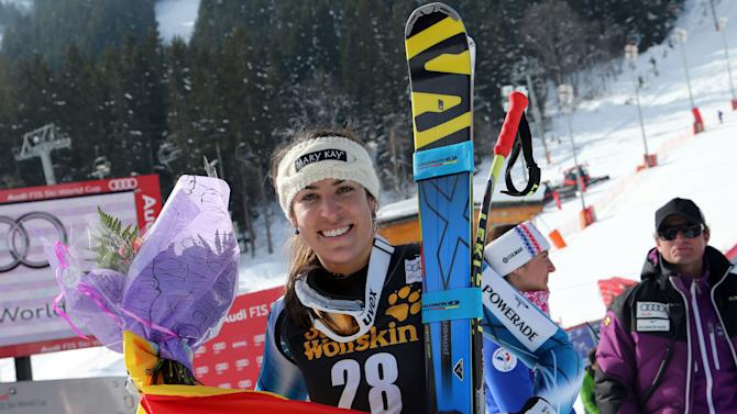 Spain's Carolina Ruiz Castillo celebrates at the finish area after winning an alpine ski, women's World Cup downhill race, in Meribel, France, Saturday, Feb. 23, 2013. (AP Photo/Enrico Schiavi)
