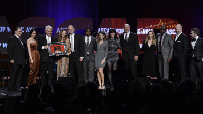 Representatives of Sony ATV Tunes LLC, 'Publisher of the Year' award recipient, is seen onstage at the 30th Annual ASCAP Pop Music Awards, on Wednesday, April 16, 2013, at Loews Hollywood Hotel in Hollywood, California. (Photo by Phil McCarten/Invision for ASCAP/AP Images)