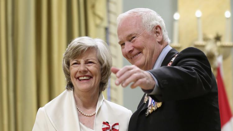 White, former chief of staff to former Canadian PM Campbell poses with Governor General Johnston after being awarded the Order of Canada at Rideau Hall in Ottawa