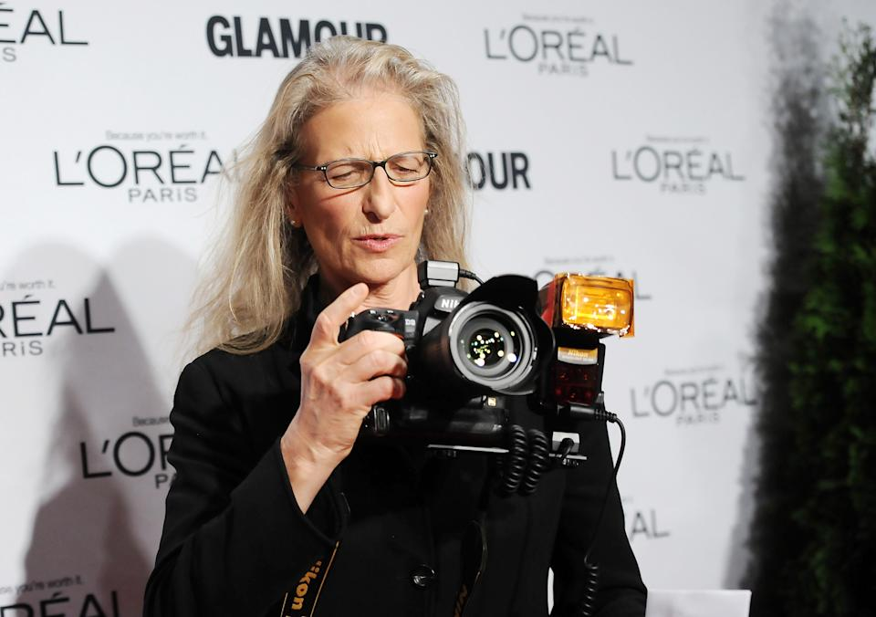 """The Visionary"" award winner, photographer Annie Liebovitz, attends Glamour Magazine's 22nd annual ""Women of the Year Awards"" at Carnegie Hall on Monday Nov. 12, 2012 in New York. (Photo by Evan Agostini/Invision/AP)"