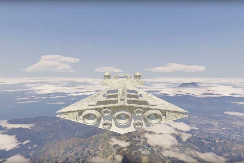 Grand Theft Auto 5 modders add Star Wars speeders and Star Destroyers