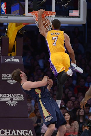 Xavier Henry ruins Jeff Withey's day. (Kirby Lee-USA TODAY Sports)