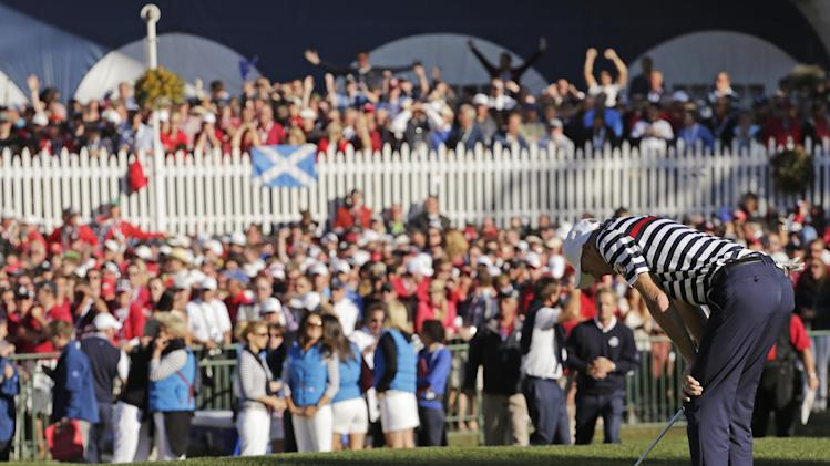Sept. 30 USA's Jim Furyk reacts after missing a putt on the 18th hole and losing to Europe's Sergio Garcia during a singles match at the Ryder Cup PGA golf tournament Sunday, Sept. 30, 2012, at the Medinah Country Club in Medinah, Ill. (AP Photo/Charlie Riedel)